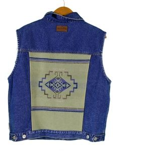 womens pendleton denim vest with wool panel